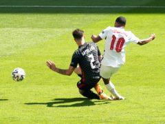 Raheem Sterling scores for England (Martin Rickett/PA)