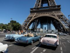Teddy bears in American vintage cars driven through Paris in a show of support for the Covid-hit tourism industry (Lewis Joly/AP)