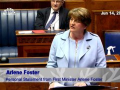 Arlene Foster formally announces her resignation as First Minister in the chamber of the Northern Ireland Assembly at Parliament Buildings, Stormont, Belfast (NI Assembly/PA)