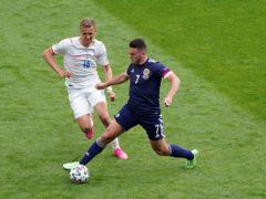 Scotland's John McGinn battles with the Czech Republic's Tomas Soucek (Jane Barlow/PA).
