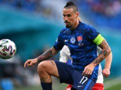 Marek Hamsik is not getting carried away by Slovakia's fine start at Euro 2020 (Kirill Kudryavtsev/AP)