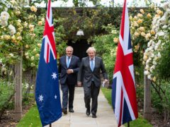 Prime Minister Boris Johnson with Australian premier Scott Morrison (Dominic Lipinski/PA)