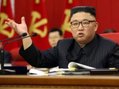 North Korean leader Kim Jong Un speaks during a Workers' Party meeting in Pyongyang on Tuesday (Korean Central News Agency/Korea News Service/AP)