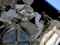 French astronaut Thomas Pesquet and Nasa astronaut Shane Kimbrough during the first spacewalk outside the International Space Station (Nasa via AP)