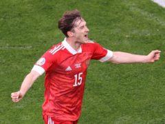 Russia's Aleksei Miranchuk celebrates his goal against Finland (Anton Vaganov/AP).