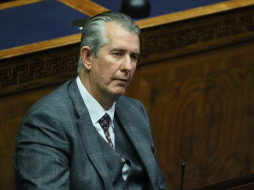 Edwin Poots in the Chamber on Thursday hours before announcing his resignation as DUP leader (Brian Lawless/PA)