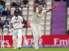 New Zealand's Kyle Jamieson, right, appeals for the wicket of India's Virat Kohli (Adam Davy/PA)