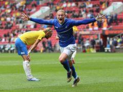 Hartlepool's Luke Armstrong celebrates scoring (Nigel French/PA)