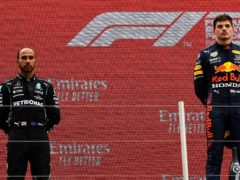 Red Bull driver Max Verstappen, right, beat Lewis Hamilton of Mercedes in Sunday's French Grand Prix (Nicolas Tucat/Pool via AP)