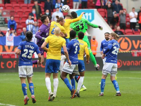 Torquay goalkeeper Lucas Covolan scored a late equaliser in stoppage time at Ashton Gate (Nigel French/PA)