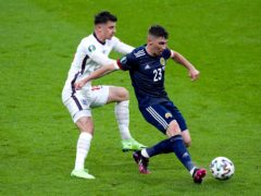 England's Mason Mount, left, and Scotland's Billy Gilmour come into close contact on Friday (Mike Egerton/PA)