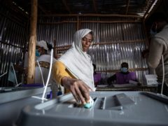 An Ethiopian woman casts her vote (AP/Ben Curtis)