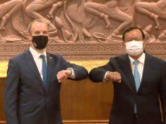 Dominic Raab, and Cambodia's foreign minister Prak Sokhonn (AP)