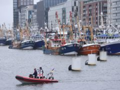 Trawlers from all around the Irish coast gathered outside the Convention Centre in Dublin, where fishermen are protesting over cuts to quotas, the impact of Brexit and the EU Common Fisheries Policy (Niall Carson/PA)