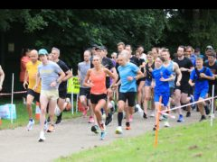 Runners take part in the 5km parkrun at Victoria Park in east Belfast (Peter Morrison/PA)