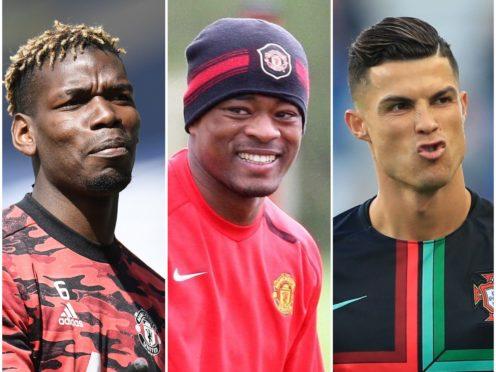 Patrice Evra, centre, poked fun at Paul Pogba, left, and Cristiano Ronaldo, right (PA)