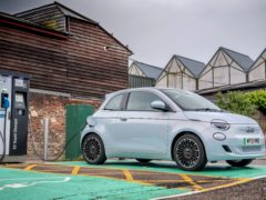 The electric 500 feels well suited to life in the town
