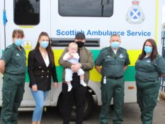 Finlay Mackenzie was born at 26 weeks in March last year weighing just 1lb 13oz (Scottish Ambulance Service/PA)