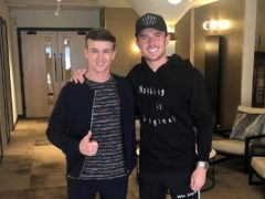 Dr Robbie Hughes (left) with England international Ben Chilwell, one of many in the Euro 2020 squad who have visited his practice (Dental Excellence UK)