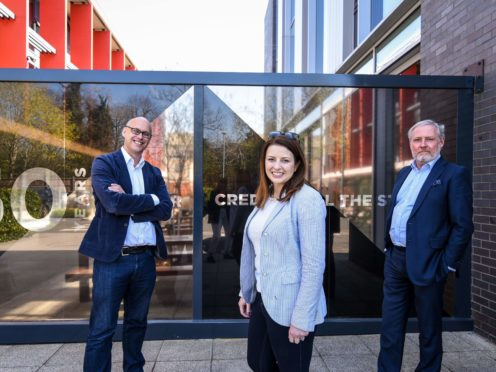 Jon Wardle, Joy Morrissey and Andrew M Smith announced new plans for a training facility from the National Film and Television School (NFTS /PA)