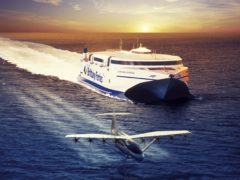 """Sea-skimming """"flying ferries"""" could cut journey times between Portsmouth and France from five hours to 40 minutes, a ferry operator has claimed (Brittany Ferries/PA)"""