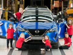 Young inspectors cast their eyes over the new Nissan Qashqai as it rolls off the production line at the Sunderland plant.