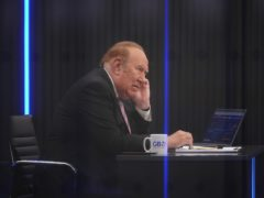 Presenter Andrew Neil prepares to broadcast from a studio during the launch event for new TV channel GB News (Yui Mok/PA)