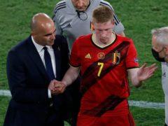 Belgium's Kevin De Bruyne (centre) faces a race against time to be fit for the Euro 2020 quarter-final against Italy (Jose Manuel Vidal/AP/PA)