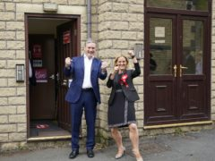 Labour leader Sir Keir Starmer with Kim Leadbeater in Clackheaton (Peter Byrne/PA)
