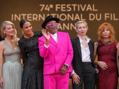 Jury members Melanie Laurent, from left, Mati Diop, Spike Lee, Jessica Hausner and Mylene Farmer pose for photographers upon arrival at the premiere of the film Annette (AP)