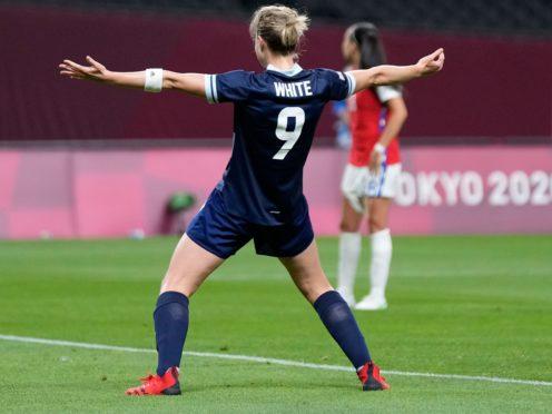 Team GB's Ellen White celebrates her winner against Japan (Silvia Izquierdo/AP)