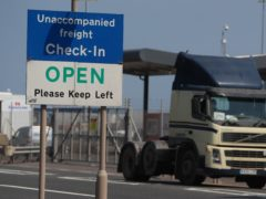 """A lorry at Belfast Harbour. The UK has demanded """"significant"""" changes to Northern Ireland's post-Brexit trading arrangements but has held back from tearing up parts of the deal (Brian Lawless/PA)"""
