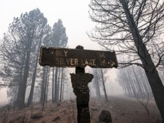 A sign damaged by the Bootleg Fire stands among the haze near Paisley, Oregon (Nathan Howard/AP)