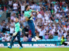 Reece Topley celebrates after taking a wicket (John Walton/PA)