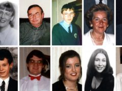 Victims of the Omagh bombing (top row, from left) James Barker, Esther Gibson, Sean McGrath, Gareth Conway, Elizabeth Rush, Fred White, Lorraine Wilson and (bottom row, from left) Veda Short, Alan Radford, Bryan White, Brenda Logue, Deborah Cartwright, Geraldine Breslin, Oran Doherty (PA)