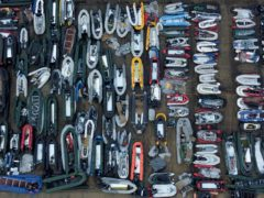 One of two areas now being used at a warehouse facility in Dover, Kent, for boats used by people thought to be migrants (Gareth Fuller/PA)