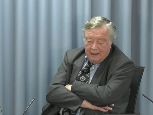 Lord Ken Clarke gives evidence at the Infected Blood Inquiry on the second day. (Infected Blood Inquiry/PA)