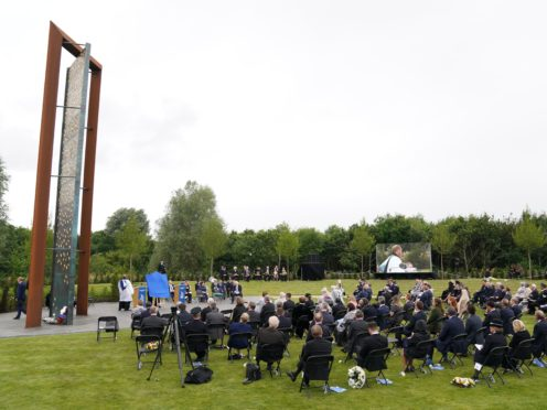 The unveiling of the UK Police Memorial at the National Memorial Arboretum at Alrewas, Staffordshire (Jacob King/PA)