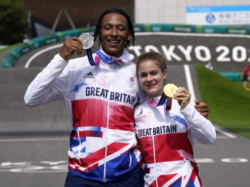 Beth Shriever and Kye Whyte celebrate their BMX medals (Danny Lawson/PA)