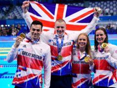 Adam Peaty, James Guy, Anna Hopkin and Kathleen Dawson took gold for Great Britain (Adam Davy/PA)