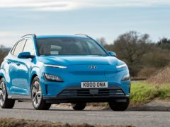 The new smoothed-off grille is a noticeable feature of the updated Kona Electric