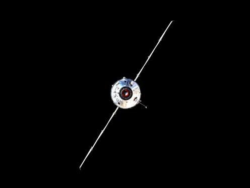 The Nauka module prior to docking with the ISS on Thursday (Roscosmos Space Agency Press Service photo via AP)