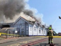 The buildings at Troon railway station were badly damaged in the fire (Network Rail/PA)