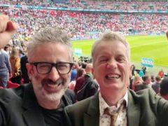 Comedians David Baddiel and Frank Skinner celebrating England's victory over Germany (vivo UK)