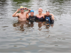 Jacquie Hughes went for a 2k swim in the River Thames to celebrate her son Tom Dean's second gold medal in the Tokyo Olympics (Jacquie Hughes/PA)