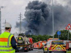 Emergency vehicles close to the blast site in Leverkusen (Oliver Berg/dpa via AP)