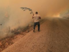 A man runs to extinguish a forest fire, at Qobayat village, in the northern Akkar province, Lebanon (Hussein Malla/AP)