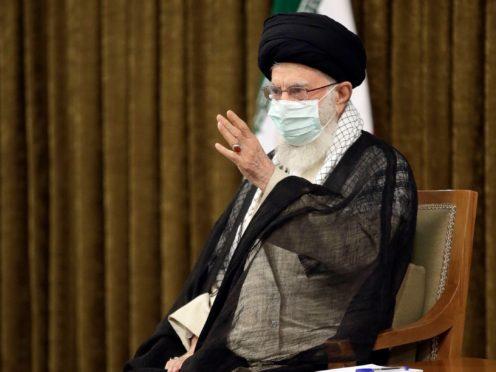 Iran's Supreme Leader Ayatollah Ali Khamenei speaking on Wednesday (Office of the Iranian Supreme Leader via AP)