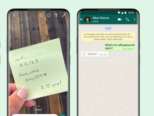 WhatsApp users can now share photos and videos that disappear from message threads after being viewed once (WhatsApp/PA)