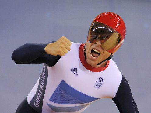 Sir Chris Hoy celebrates his fifth Olympic gold after victory in the team sprint at London 2012 (Tim Ireland/PA)